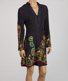 Gray & Green Floral Henley Dress