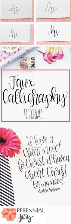 DIY Faux Calligraphy Tutorial: How to make modern calligraphy that looks amazing! Perennialjoy.com