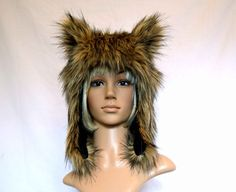 Brown Wolf  Hat Faux Fur Animal Hat Werewolf by Morphe on Etsy, $50.00