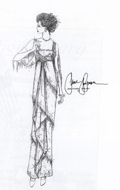 Somewhere In Time Costume Sketch for Jane Seymour's character Elise McKenna