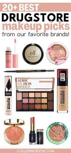 With so many amazing drugstore makeup products to choose from, here are top 3 picks from each of our favorite drugstore beauty brands. #best #drugstore #makeup #products #brands Drugstore Skincare, Drugstore Makeup Dupes, Makeup Swatches, Makeup Guide, Makeup Kit, Glamorous Makeup, Makeup For Beginners, Beauty Hacks, Beauty Tips