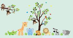 Baby Safari Wall Decals for Kids Room Décor - Animals and Tree **********************************************************************  Hello and Welcome!  We specialize in making high quality nursery wall decals for your little boy or girl. These decals are not made from vinyl material like most other wall decals. Instead, they are made with a brand new material, a finely woven micro-fiber with an adhesive backing and a matte finish. This material is very thin, yet high quality and far more…