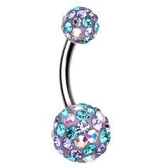 Retro Motley Sparkling Sparkle Belly Button Ring