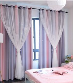 Shop for Yancorp Room Darkening Blackout Curtains Grommets Kids Lace Drapes Star Double Layer Window Panels Tie Backs Bedroom Living Room (Pink Grey, X 84 online - Theeasytopbuy Girls Bedroom Curtains, Living Room Decor Curtains, Kids Curtains, Home Curtains, Grey Curtains, Grommet Curtains, Panel Curtains, Bedroom Decor, Bedroom Kids