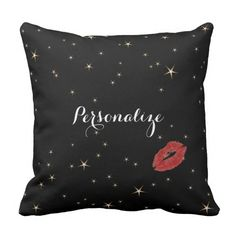 Glamorous Gold Stars with Red Lipstick Kiss Throw Pillow by Purple Cat Arts. Starry nights and lipstick kisses... #LipstickKiss #StarryNight