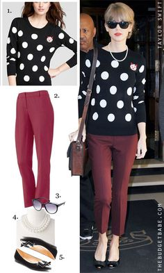 Polka sweater + Burgundy(colored) pants      Dress by Number: Taylor Swift's Polka Dot Sweater and Ankle Pants - The Budget Babe