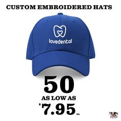 Create custom embroidered branded caps for less! Free design help, and shipping. Custom Embroidered Hats, Custom Embroidery, Branded Caps, Carolina Blue, Free Design, Baseball Hats, Create, Baseball Caps, Ball Caps