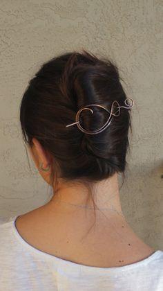 Rustic copper hair slide large hammered hair barrette by Kapelika