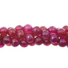 Ruby Agate 8mm Faceted Round Gemstone Bead Strand