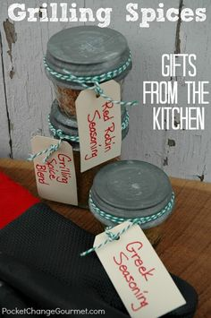 Grilling Spices + 6 Gifts from the Kitchen   Pocket Change Gourmet http://pocketchangegourmet.com/grilling-spices-6-gifts-from-the-kitchen/