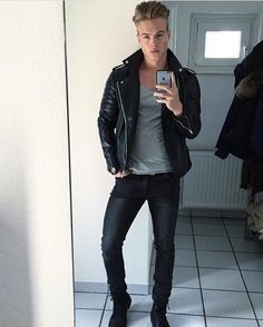 leather, jeans and men