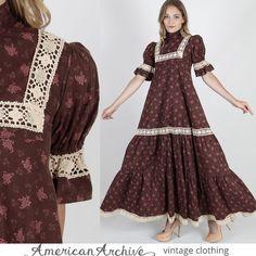 vtg 70s Laura Ashley Floral Dress Crochet Lace Boho Hippie Festival Prairie Maxi…
