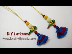 Making Of Parrot Latkans Saree Tassels, Navratri Special, Diy Jewelry Tutorials, Thread Jewellery, Tassel Earrings, Parrot, Sewing, Blouse, How To Make