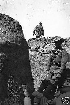 Ww1 Asian Allied Troops In Trench Scene France.