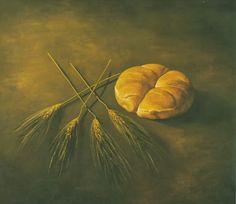 """Τό γνωστό """"χωριάτικο ψωμί """" όπως τό ξέρουμε , είναι αυτό πού πλάθετε μέ προζύμι καί μόνο προζύμι. Τό αποτέλεσμα είναι ένα μεστό, γλυκό κα... Greek Recipes, Painting, Image, Bread, Food, Painting Art, Brot, Essen, Greek Food Recipes"""