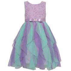 edb7f1648f2f Rare Editions Big Girls Lilac Lace Bodice Cascade Ruffle Easter Dress 7-16