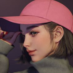 ArtStation - girl in a cap, Juhye Jeong Digital Art Girl, Digital Portrait, Portrait Art, Female Portrait, Cute Art Styles, Cartoon Art Styles, Cute Cartoon Girl, Cute Girl Wallpaper, Beautiful Anime Girl