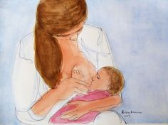Buy 1 Line - Watching my loved one. 1 Line drawing of a young mom watching her loved baby while nursing. Breastfeeding, among many other things, facilitates bonding between mother and baby. #breastfeeding #amamantar #stillen #mother #madre #baby #bebe #attachmentparenting #crianzaconapego #lactancia #lactation #drawing  #dibujo #1linedrawing #watercolor #acuarela #bonding #apego