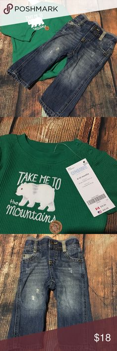 "Polar Bear Shirt Distressed Jeans 6-12 Months Boy's 6-12 months shirt/jeans bundle shirt is a green thermal long sleeve snap bottom t-shirt with a polar bear on front and says ""take me to the mountains"" new with tags.  cotton/polyester blend.  Size 6-12 months.  Retail $16.95 jeans are distressed, 5 pocket.  Genuine Kids by Osh Kosh B'Gosh.  Size 12 months. Shirt is new with tags.  jeans are gently used.  No holes or stains other than factory distressing on jeans. Gymboree Matching Sets"