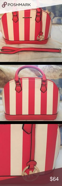 Leather Striped Bag This leather striped fashion bag comes with a strap to wear as a satchel. This beautiful bag has 4 pockets, golden zipper that opens from one side to the next, and its a beautiful red/coral and white color. Fashion Bag Bags Totes