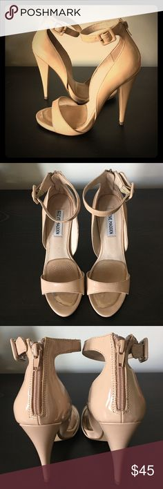 Steve Madden nude patent heels Worn ONLY ONCE for my best friends wedding. Gel pads are still inserted and cannot come out. Accepting offers!!! 4inch heel, zip up ankle strap. Steve Madden Shoes Heels