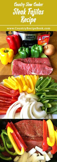 Cooker Steak Fajitas Make delicious steak fajitas in your slow cooker with this awesome recipe. Super easy to make.Make delicious steak fajitas in your slow cooker with this awesome recipe. Super easy to make. Slow Cooker Steak, Crock Pot Slow Cooker, Crock Pot Cooking, Cooking Corn, Cooking Salmon, Mexican Food Recipes, Beef Recipes, Crockpot Steak Recipes, Recipies
