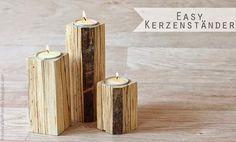Kerze Holz DIY Wood Projekt Teelichthalter