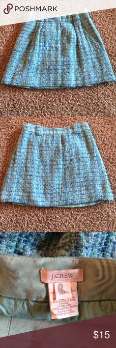 J. Crew wool skirt Blue j. Crew skirt• size 0• wool, polyester, rayon, cotton blend• has a couple snags on the lace inside J. Crew Skirts Mini