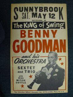 Benny Goodman 195? Vintage Concert Posters, Music Posters, Big Band Jazz, Swing Era, Cool Jazz, Lindy Hop, Retro Design, Graphic Design, Blue Poster