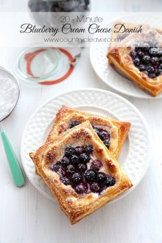 20 Minute Blueberry Cream Cheese Danishes - www.countrycleaver.com These are so simple for breakfast or a weekend brunch! Toast them in your...