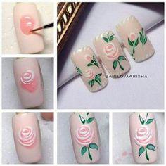 Cute Nail Designs For Spring – Your Beautiful Nails Rose Nail Art, Rose Nails, Flower Nail Art, Nail Art Diy, Diy Nails, Manicure, Rose Nail Design, Trendy Nail Art, Cute Nail Designs