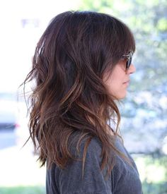 Shoulder Length Layered Hairstyle lange frisuren 60 Most Beneficial Haircuts for Thick Hair of Any Length Medium Length Hair Cuts With Layers, Medium Hair Cuts, Long Hair Cuts, Hair Layers, Mid Length Hair With Layers Wavy, Medium Hair Styles For Women With Layers, Cuts For Thick Hair, Medium Thick Hair, Long Choppy Layers