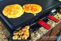 Pancakes with Toasted Brown Sugar Bananas - 30 days of Healthy Eating with the Velata Raclette. scentwithlovebykande.blogspot.com www.kande.velata.us www.kande.scentsy.us www.kande.graceadele.us