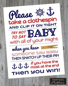 Baby Shower Game - Don't Say Baby Clothespin - Nautical - Matches Ahoy It's a Boy Theme