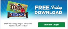 FREE M&M's Crispy Bag or Snickers Rockin' Nut Road Bar for Kroger (and affiliate) Shoppers!