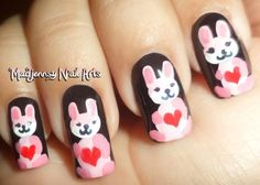 Pink bunny nails with hearts for Easter!