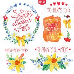 Watercolor floral set.Mother day by Tatiana Kost design on Creative Market