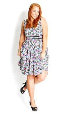 City Chic - MISS FLOWERPOT DRESS  - Women's Plus Size Fashion. Don't plan to buy it, but would love dresses with a similar cut/print
