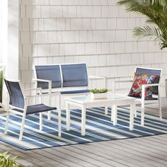 Hampton Bay Harmony Cove 4-Piece Steel Blue Sling Outdoor Patio Deep Seating Set FCS60637-ST - The Home Depot Beige Cushions, Patio Seating, Outdoor Lounge Furniture, Outdoor Spaces, Outdoor Living, Steel Frame, Chairs, Opportunity, Stability