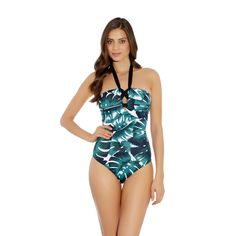 Eden offers an on-trend and modern collection, combining a chic palm leaf print with graphic elastic bands. The fixed straps foam bandeau swimsuit is available in up to a D cup, and features foam padded cups without underwiring to offer a beautifully rounded shape and an ultra comfortable fit.