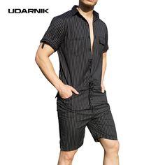 7dabc0e7d47f UDARNIK Men Jumpsuit Pants Short Sleeve Slim Striped Summer Bodysuit Rompers  Casual Playsuit Overalls One Piece Bibs