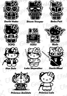 black and white star wars hello kitty - Google Search