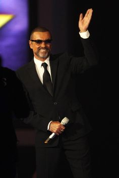 George Michael onstage at The Brit Awards 2012 at The O2 Arena on February 21, 2012 in London, England.