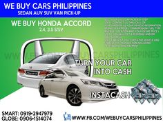 WE BUY USED HONDA ACCORD PHILIPPINES Accord 2.4 S ATPHP  Accord 2.4 S AT (White Orchid Pearl) Accord 3.5 SV AT V6 Accord 3.5 SV AT V6 (White Orchid Pearl)  Contact numbers: SMART: 0919-294-7979 GLOBE: 0927-956-2590 / 0906-151-4074
