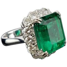 GRS Certified 15.86 Carat Colombian Emerald and Diamond Cocktail Ring | From a unique collection of vintage cocktail rings at https://www.1stdibs.com/jewelry/rings/cocktail-rings/