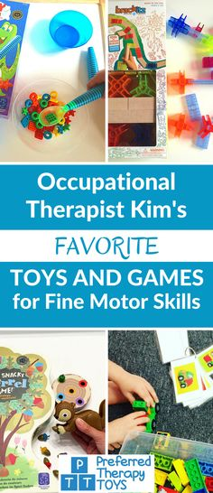 Favorite Toys and Games For Fine Motor Skills from Occupational Therapist Kim – Fine Motor Skills Toys and Games Lieblingsspielzeug und -spiele für Feinmotorik von Ergotherapeutin Kim – Feinmotorikspielzeug und -spiele … Fine Motor Activities For Kids, Motor Skills Activities, Sensory Activities, Fine Motor Skills, Preschool Activities, Kids Learning, Sensory Diet, Early Learning, Sensory Tools
