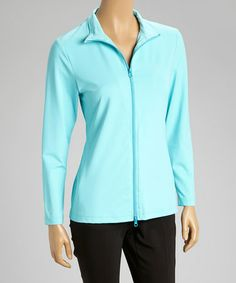 Another great find on #zulily! Turquoise Zip-Up Jacket - Women by GolfHER #zulilyfinds