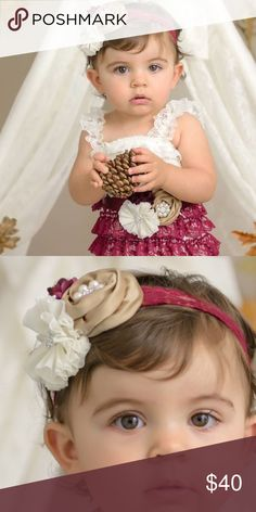 12 month romper, headband, belt and diaper cover WORN ONCE FOR PICTURES! Romper, headband, diaper cover and belt included! Pet free smoke free home! Dresses Formal