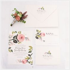 sunday kinda love, rifle paper co., floral stationary, roses, pink, green