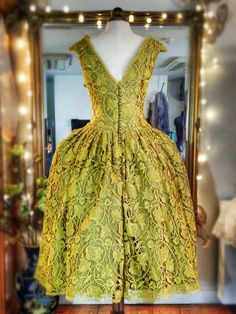 Joanne Fleming Design: Chartreuse Art Nouveau Lace and Silk Tea-length Wedding Dress